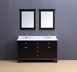 Madison Transitional Bathroom Vanity Set with Carrera Marble Top Espresso 60