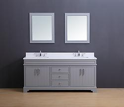 Marina Transitional Bathroom Vanity Set with White Quartz Top Gray Stain 72