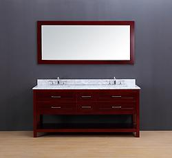 Neva Transitional Bathroom Vanity Set with Carrera Marble Top Cherry 72
