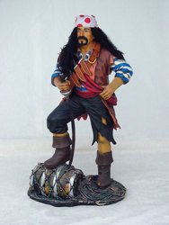 Pirate On Barrel Statue 3FT