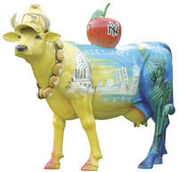 New York Theme Painted Cow Statue Life Size