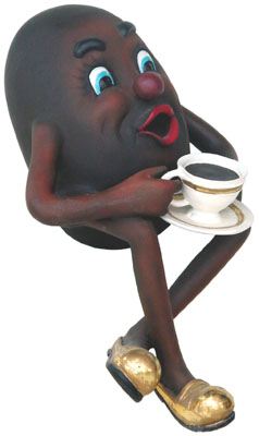 Coffee Bean Drinking Coffee Whimsical Statue