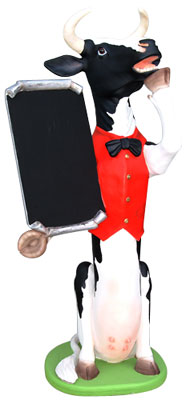 Skinny Cow Statue with Chalk Menue Board Display 5.5FT