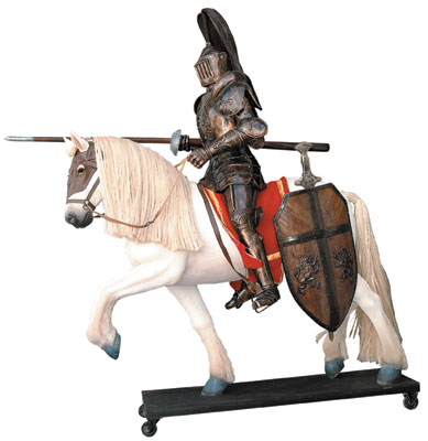 Armor Knight On Horse Life Size Statue