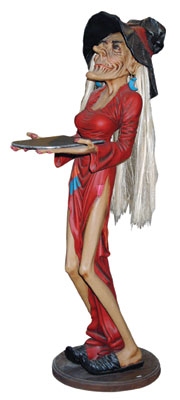 Skinny Witch Waitress Life Size Statue