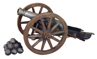 Cannon with Wagon Wheels Life Size Replica
