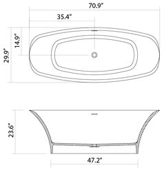 Annecy Solid Surface Modern Bathtub 71