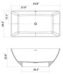 Chazilly Solid Surface Modern Bathtub 64