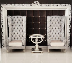 Baroque High Back Chair in Silver Velvet