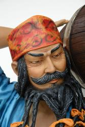Chinese Pirate Carrying Barrel Statue Life Size