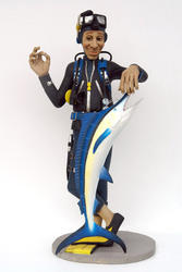 Scuba Diver with Blue Marlin Statue