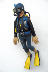 Scuba Diver Swimming Statue 3FT