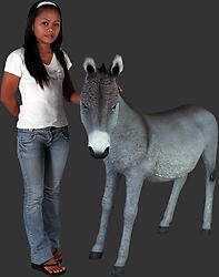 Donkey Statue Gray Finish - 4FT