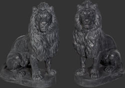 Sitting Lion Statue - Set of 2 Left and Right