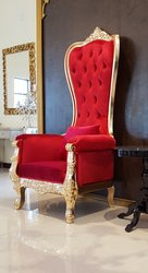 Baroque Throne Chair Queen High Back Chair in Red Velvet