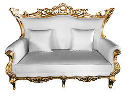 Terra Baroque Rolled Arm Love Seat Sofa White Leather