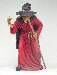 Witch Standing With Candle Holder Statue