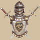 Late 17th Century Armor with Sword Wall Decor