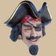 Pirate Head Wall Decor with Eye Patch- Life Size