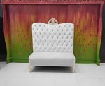 Adonis High Back Chair White Velvet with Silver Crown