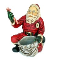 Santa Claus Kneeling with Gift Bag Christmas Decor Small