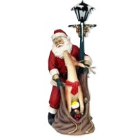 Santa Claus with Reindeer and Lamp Post