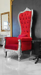 Baroque Throne Chair Queen High Back in Red Velvet and Silver Frame