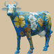Flower Theme Painted Cow Life Size Statue
