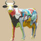 Picasso Theme Painted Cow Life Size Statue
