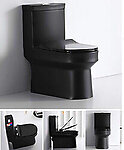 Black Gloss Toilet Modern One Piece Dual Flush - Lazio