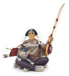 Indian Warrior Sitting with Wolf Statue 3FT