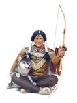 Indian Warrior Sitting with Wolf Statue 6FT