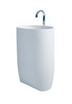 Nurri - Modern Bathroom Pedestal Sink Cast Stone 21.6