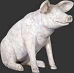 Sitting Pig Statue Roman Stone Finish