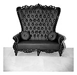 Double High Back Chair Queen Throne in Black Leather and Black Gloss Frame