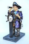 Pirate Boy with Ships Wheel Life Size Statue