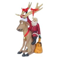 Reindeer Sitting with Santa Statue Christmas Decor 4FT