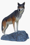 Wolf Statue Standing on Rock Life Size