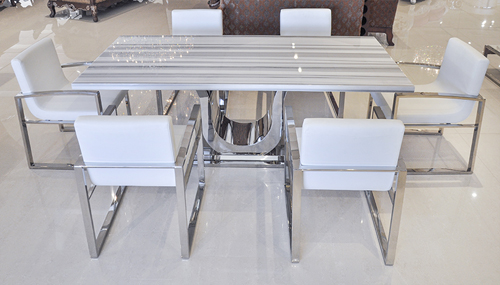 Uscio IV Marble Dining Table 79quot White Lines : Modern Dining Table Uscio II White Vein 2 from www.theinteriorgallery.com size 500 x 285 jpeg 141kB