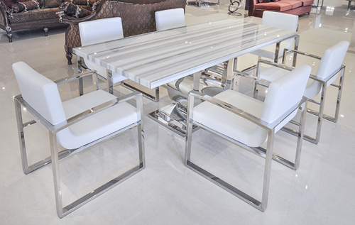 "White Modern Dining Room uscio iv marble dining table 79"" - white lines"